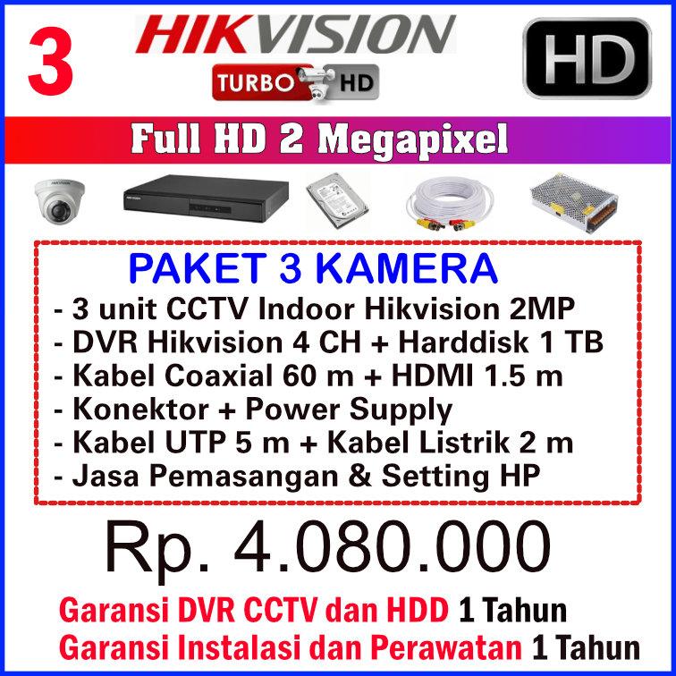 Paket CCTV 3 Kamera Hikvision 2MP