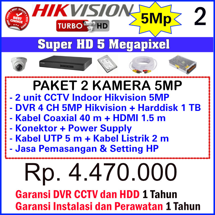 Paket CCTV Hikvision 5 Megapixel - 2 Kamera