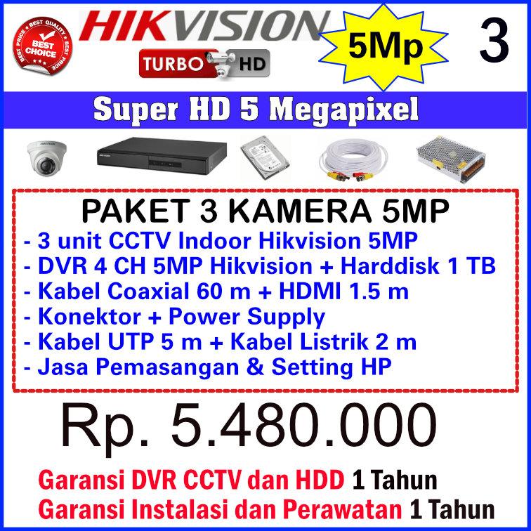 Paket CCTV Hikvision 5 Megapixel - 3 Kamera